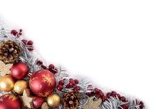 Πλαίσιο συνόρων γωνιών Χριστουγέννων με το άσπρο διάστημα αντιγράφων στοκ εικόνες