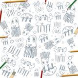 Πλαίσιο σχεδίων μεδουσών παιδιών στο λευκό με τα μολύβια χρώματος Στοκ Φωτογραφίες