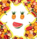 Πλαίσιο του ανθρώπινου προσώπου με την κατάταξη των διάφορων φρούτων Στοκ φωτογραφία με δικαίωμα ελεύθερης χρήσης