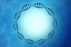 Πλαίσιο του DNA κυττάρων στο μπλε υπόβαθρο Στοκ εικόνα με δικαίωμα ελεύθερης χρήσης