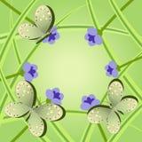 Πλαίσιο των λουλουδιών και της χλόης πεταλούδων Στοκ εικόνα με δικαίωμα ελεύθερης χρήσης
