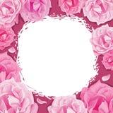 Πλαίσιο των τριαντάφυλλων σε ένα ρόδινο υπόβαθρο απεικόνιση αποθεμάτων