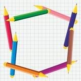 Πλαίσιο των χρωματισμένων μολυβιών Στοκ φωτογραφίες με δικαίωμα ελεύθερης χρήσης