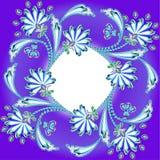 Πλαίσιο υποβάθρου με τα λουλούδια φιαγμένο από πολύτιμες πέτρες και λουρίδα Στοκ εικόνα με δικαίωμα ελεύθερης χρήσης