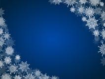 Πλαίσιο υποβάθρου χιονιού Χριστουγέννων με snowflakes το μπλε Στοκ Φωτογραφίες