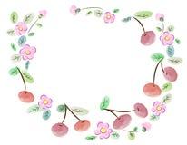 Πλαίσιο φιαγμένο από κεράσια και λουλούδια Στοκ φωτογραφίες με δικαίωμα ελεύθερης χρήσης