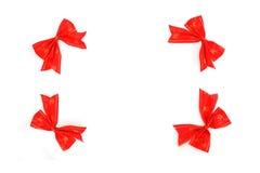 Πλαίσιο φιαγμένο από κόκκινες κορδέλλες Στοκ Φωτογραφίες