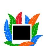 Πλαίσιο φωτογραφιών με τα χρωματισμένα φτερά διανυσματική απεικόνιση