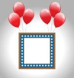 Πλαίσιο φωτογραφιών στα αμερικανικά εθνικά χρώματα με τα μπαλόνια ελεύθερη απεικόνιση δικαιώματος