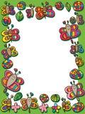 Πλαίσιο φύλλων λουλουδιών σαλιγκαριών μελισσών πεταλούδων λιβελλουλών ελεύθερη απεικόνιση δικαιώματος