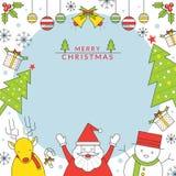 Πλαίσιο χαρακτήρων Χριστουγέννων, ύφος γραμμών Ελεύθερη απεικόνιση δικαιώματος