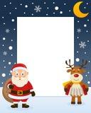 Πλαίσιο Χριστουγέννων - Άγιος Βασίλης & τάρανδος διανυσματική απεικόνιση