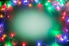 Πλαίσιο Χριστουγέννων με τα φω'τα νεράιδων. Στοκ φωτογραφία με δικαίωμα ελεύθερης χρήσης