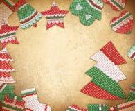 Πλαίσιο Χριστουγέννων με τα χειροποίητα σύμβολα Χριστουγέννων Vinta Χριστουγέννων Στοκ Εικόνες