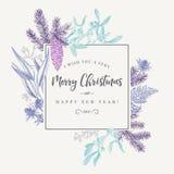 Πλαίσιο Χριστουγέννων στο εκλεκτής ποιότητας ύφος Στοκ εικόνα με δικαίωμα ελεύθερης χρήσης