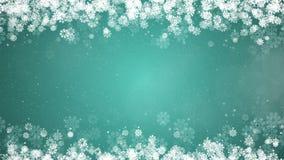 Πλαίσιο Χριστουγέννων στο πράσινο υπόβαθρο Αφηρημένη χειμερινή κάρτα με Snowflakes απεικόνιση αποθεμάτων