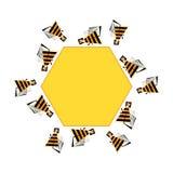 Πλαίσιο Beez για το κείμενο Διανυσματικό αφηρημένο έμβλημα μελισσών και κηρηθρών Τυποποιημένο bezzy infographic στοιχείο Στοκ Εικόνα