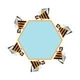 Πλαίσιο Beez για το κείμενο Διανυσματικό αφηρημένο έμβλημα μελισσών και κηρηθρών Τυποποιημένο bezzy infographic στοιχείο Στοκ Φωτογραφία