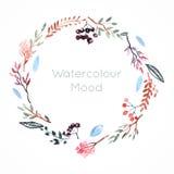 Πλαίσιο Watercolor με τα μούρα και τα λουλούδια Στοκ Φωτογραφίες