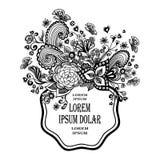 Πλαίσιο Zen -Zen-doodle με το Μαύρο καρδιών πεταλούδων λουλουδιών στο λευκό Στοκ φωτογραφίες με δικαίωμα ελεύθερης χρήσης