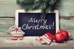 Πλαισιωμένος πίνακας με τη διακόσμηση Χριστουγέννων στοκ εικόνα