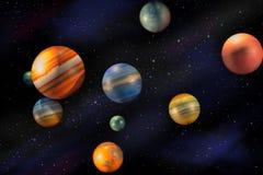Πλανήτες στο διαστημικό κόσμο Στοκ εικόνα με δικαίωμα ελεύθερης χρήσης