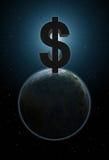 Πλανήτης Γη με το μεγάλο σημάδι δολαρίων επάνω από το Στοκ φωτογραφία με δικαίωμα ελεύθερης χρήσης