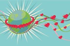 Πλανήτης Γη στο δαχτυλίδι των καρδιών RAD. Τρύγος Στοκ φωτογραφία με δικαίωμα ελεύθερης χρήσης