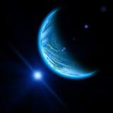Πλανήτης και μπλε φωτεινό αστέρι διανυσματική απεικόνιση