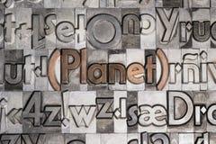 Πλανήτης με την κινητή εκτύπωση τύπων στοκ φωτογραφίες με δικαίωμα ελεύθερης χρήσης