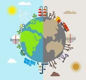 Πλανήτης μολυσμένος και φιλικές προς το περιβάλλον εγκαταστάσεις Στοκ εικόνα με δικαίωμα ελεύθερης χρήσης