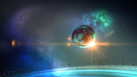 Πλανήτης στο διαστημικό βρόχο διανυσματική απεικόνιση