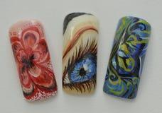 Πλαστά καρφιά που χρωματίζονται με το χέρι Στοκ εικόνα με δικαίωμα ελεύθερης χρήσης