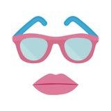 Πλαστικά γυαλιά ηλίου και χείλια γυναικών ` s διανυσματική απεικόνιση
