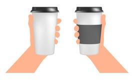 Πλαστικά πρότυπα φλυτζανιών καφέ υπό εξέταση Φλυτζάνι εγγράφου για να πάει Στοκ φωτογραφία με δικαίωμα ελεύθερης χρήσης