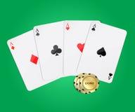 Πλαστικές κάρτες παιχνιδιού για το πόκερ παιχνιδιού Στοκ Φωτογραφία