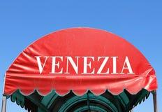 πλαστική σκηνή τη ΒΕΝΕΤΙΑ που γράφεται με στα ιταλικά Στοκ φωτογραφία με δικαίωμα ελεύθερης χρήσης