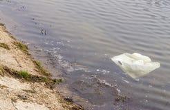 Πλαστική τσάντα στο βρώμικο νερό Στοκ εικόνα με δικαίωμα ελεύθερης χρήσης