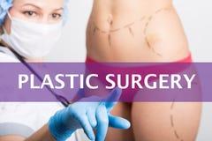 Πλαστική χειρουργική που γράφεται σε μια εικονική οθόνη Τεχνολογίες Διαδικτύου στην έννοια ιατρικής ο ιατρός πιέζει ένα δάχτυλο Στοκ φωτογραφία με δικαίωμα ελεύθερης χρήσης
