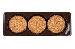 Πλαστικό εμπορευματοκιβώτιο τα καφετιά μπισκότα που απομονώνονται με στο λευκό Στοκ Φωτογραφίες