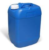 Πλαστικό κάνιστρο. Μπλε μεταλλικό κουτί Στοκ φωτογραφία με δικαίωμα ελεύθερης χρήσης