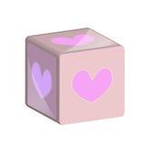 Πλαστικό κύβων παιχνιδιών με την καρδιά Στοκ Εικόνες