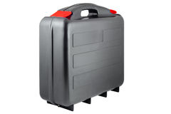 Πλαστικό μαύρο toolcase με τις κόκκινες ετικέττες Στοκ φωτογραφία με δικαίωμα ελεύθερης χρήσης