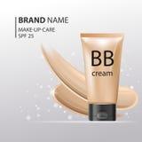 Πλαστικό πρότυπο σωλήνων κρέμας του BB Το πρότυπο Makeup για τις αγγελίες ή το υγρό ίδρυμα περιοδικών whith ακτινοβολεί επάνω υπό Στοκ Φωτογραφίες