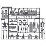 Πλαστικό πρότυπο σύνολο μητρόπολης της Μπανγκόκ Στοκ Εικόνα