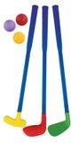 Πλαστικό σύνολο παιχνιδιών γκολφ που απομονώνεται Στοκ Εικόνα