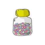 πλαστικό χαπιών μπουκαλιών επίσης corel σύρετε το διάνυσμα απεικόνισης Στοκ Εικόνες