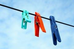 Πλαστικό clothespins Στοκ Εικόνα
