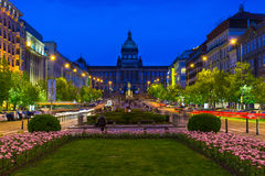 Πλατεία και Εθνικό Μουσείο του Wenceslas στην Πράγα, Δημοκρατία της Τσεχίας Στοκ Φωτογραφία