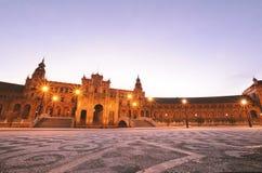 Πλατεία της Ισπανίας τη νύχτα Σεβίλλη - Ισπανία Στοκ φωτογραφία με δικαίωμα ελεύθερης χρήσης